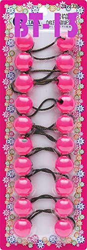 Tara Girls Twinbead Bubble Ball Ponytail Elastics 10 Pieces Selection (PINK)