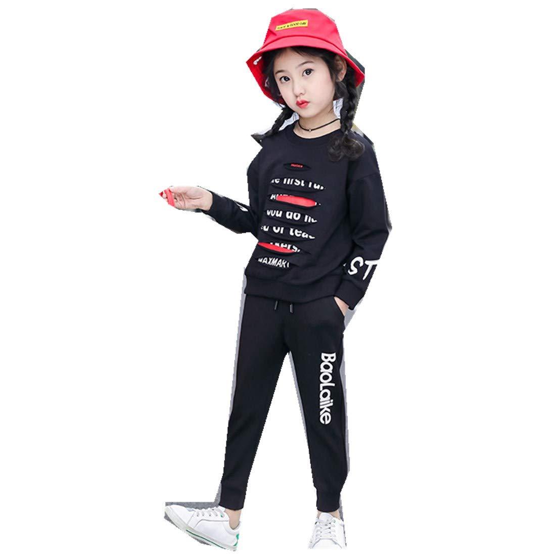 MV Spring Autumn Boys Girls Sports Cotton Letter Hole Hollow School Uniform Suit