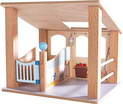 HABA Little Friends Wooden Horse Stall with Swinging Door & Loving Details