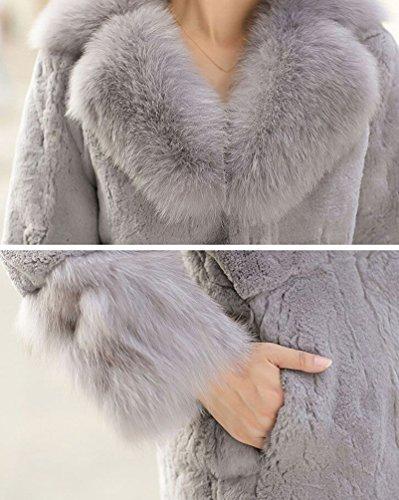 ... CHENGYANG Damen Jacke Faux Fur Warm Kunstpelz Langarm Jacket Parka  Mantel Felljacke Tops Licht Grau TgsXnL1