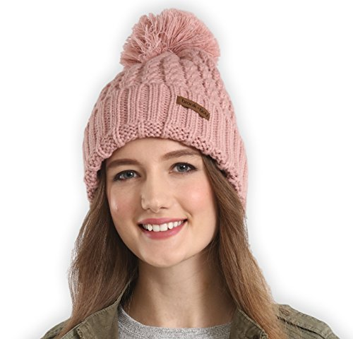 Pink Womens Beanie - Brook + Bay Pom Pom Beanie - Stay Warm & Stylish - Thick, Soft & Chunky Cable Knit Beanie Hats for Women & Men - Serious Beanies for Serious Style