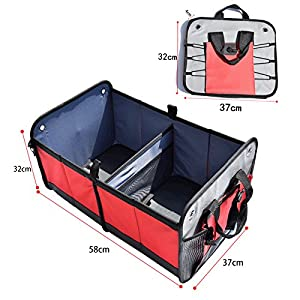 HCMAX 1 Pack Foldable Car Trunk Organizer - Auto Cargo Grocery Organizer - Collapsible Storage Bag - Anti-slip for Sedan SUV Vans Trucks - Oxford Fabric Red