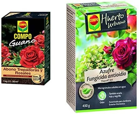 Compo 1 Kg Abono para Trepadoras Y Rosales con Guano Natural, Negro, 2 Kg + Azufre Fungicida Anti Oídio, Microgránulos Solubles En Agua, para Plantas Ornamentales, Arbustos Y Árboles, 450 G