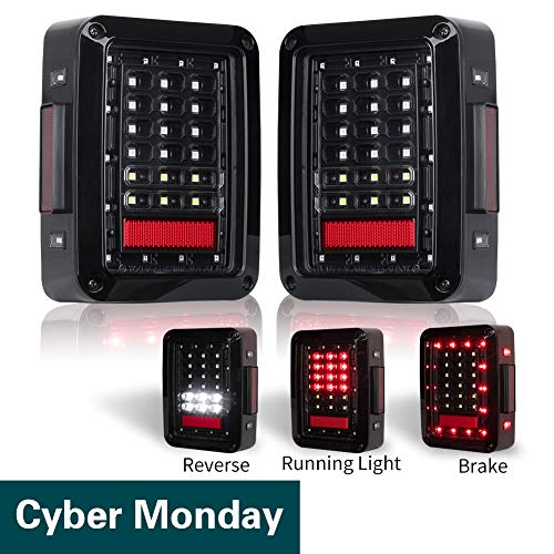 Jeep Wrangler Tail Lights LED for 07-17 Jeep Reverse Light Turn Signal Lamp Running Lights for Jeep Wrangler JK, 2 Years Warranty
