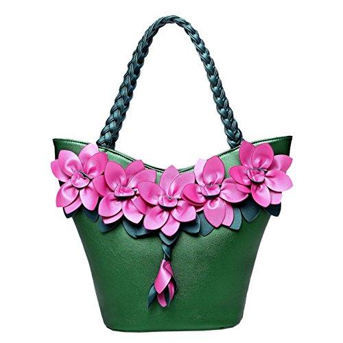 Grande Sac Fleur Main Femme Bandoulière Élégant Couture Darkgreen à Automne AJLBT Mode Sac Tisser à Sac Pour Capacité qw6H7H