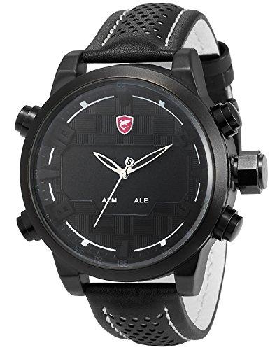 Shark Men's Fashion Digital LED Date Day Alarm Black Leather Quartz Sport Watch SH205 White