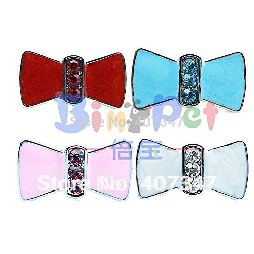 ArMordy(TM)MOQ 24 pcs can mix 4 colors,10mm rhinestones enamel bow sliders, DIY pet letters personalized pet collar charm ()