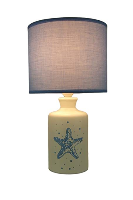 Incroyable White And Blue Ceramic Starfish Table Lamp With Fabric Shade