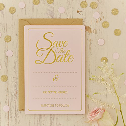 Ginger-Ray-Pastel-Gold-Foiled-Save-The-Date-Wedding-CardsInvitations-10-Pack-Pink