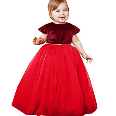 f60e62cde3d9 Newborn Infant Toddler Baby Girls Pearl Party Princess Dresses ...