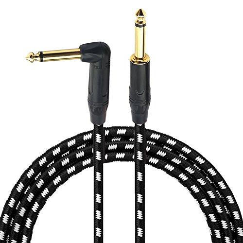 1/4 Inch Cable Guitar Cable 10 Ft Right Angle To Straight 6.35mm Gold Plugs Electric Instrument Bass Keyboard Cable Amp Cord For Electric Mandolin - Braided Cloth Jacket By Gedkoa by GEDKOA
