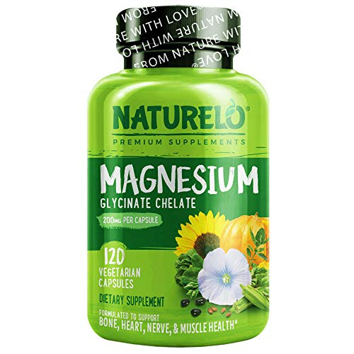 NATURELO Magnesium Glycinate Supplement – 200 mg Glycinate Chelate with Organic Vegetables to Support Sleep, Calm…