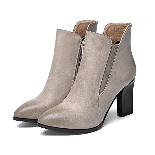 AmoonyFashion Womens Pointed-Toe Closed-Toe High-Heels Boots With Rubber Soles and Chunky Heels Apricot wT2oKj