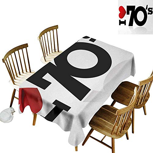 (kangkaishi 70s Party 3D Printed Long Tablecloth Love The Seventies Theme Stylized Letters and Heart Sign Oldies But Goldies Desktop Protection pad W60 x L84 Inch Red Black White)