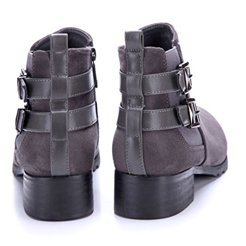 Schuhtempel24 Damen Schuhe Klassische Stiefeletten Stiefel Boots Blockabsatz Schnalle 4 cm Grau