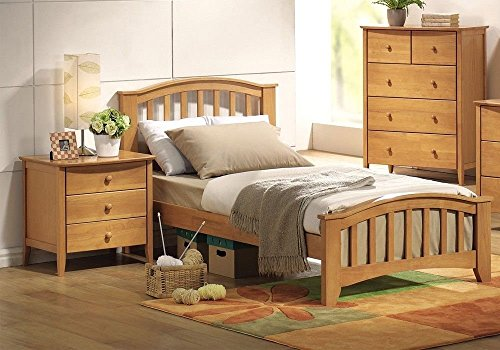 Simple Relax San Marino Twin Kids Youth Bed with Matching Night Stand Drawers in Maple
