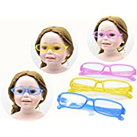Doll Eyeglasses, 3pc Pink Yellow Blue Color Doll Eye Glasses For 18 inch Girl