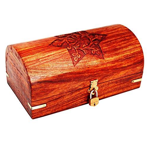 Great Birthday Gift Ideas Handmade Decorative Wooden Jewelry Box With Free Lock & Key Jewelry Organizer Keepsake Box Treasure Chest Trinket Holder Lock Box Watch Box 9 x 5 Inch Anniversary Gifts Her