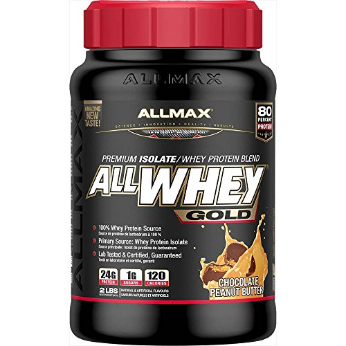 ALLMAX Nutrition AllWhey Gold 100 Whey Protein Premium Whey Protein Isolate Chocolate Peanut Butter 2 lbs 907 g by ALLMAX NUTRITION