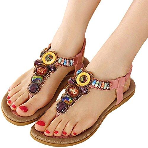 iLory Damen Flach Sandalen Sommer Bohemian Schuhe Zehentrenner Sandaletten Pink