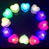 Hongtang 12Pcs Multicolors Love Heart Liquid Sensor Changing Blinking Flashing LED Light Up LED Ice Cubes Event Party Decoration