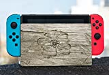 Flower Carved out of Wooden Background Nintendo Switch Dock Vinyl Decal Sticker Skin by Moonlight Printing