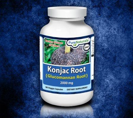 Pur et naturel Konjac Glucomannan Racine Racine, 2000 mg, 90 capsules végétariennes