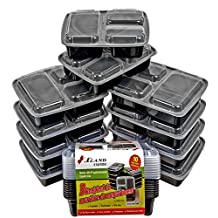 3 Compartment Bento Boxes, Meal Prep Containers, Food Storage Trays with Lids, Reusable Food Storage Containers, Microwave and Dishwasher Safe, Bento Lunch Boxes, Stackable, Compartment sizes 8, 8, and 16 ounces, with its Storage Capacity of 32 ounces Per Meal, Pack of 10