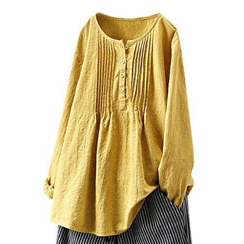 JustWin Button Long Sleeve Top Women Casual Vintage Blouse Button Blouse Solid Color Fold Round Neck Shirt Yellow