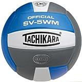 Tachikara Full Grain Leather VolleyBall, Blu-White-Sil