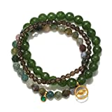 Satya Jewelry Jade, Fancy Jasper, Smokey Quartz Gold Plate Evil Eye Stretch Bracelet