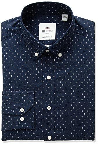 Ben Sherman Men's Camden Fit Skinny Triple Dot Print Dress Shirt