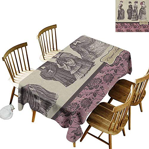 DONEECKL Victorian Wrinkle Free Tablecloth Indoor and Outdoor Tablecloth Ladies Clothes Fashion History Dress Handbag Feather Gloves Floral Design Print Grey Rose W60 xL120