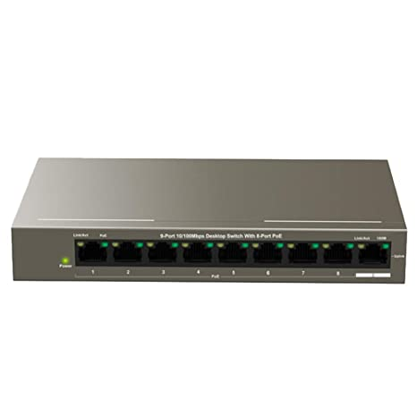 Amazon com: PoE switch 9 Port Desktop Fast Ethernet Switch