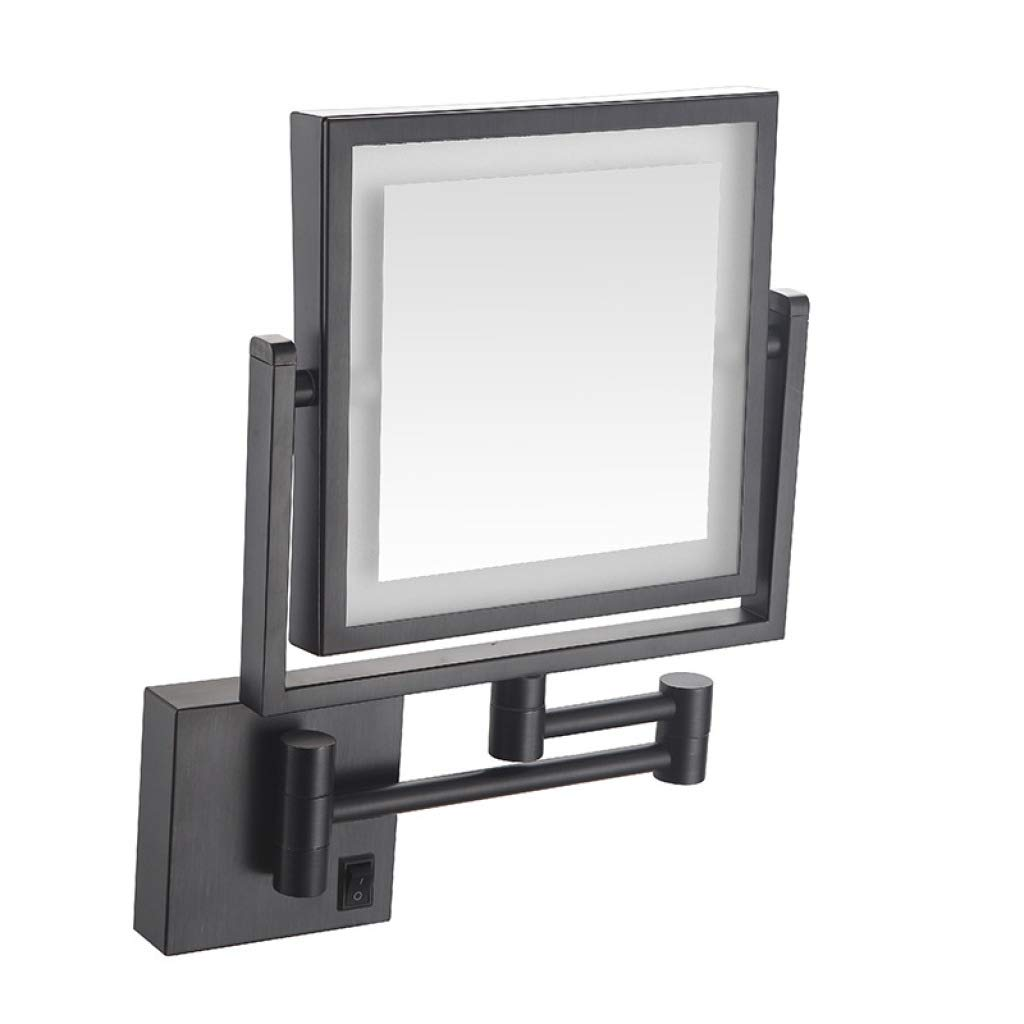 POLAY LED Makeup Vanity Mirrors, Square Double Sided Lighted Cosmetic Mirror Wall Mounted Bathroom Mirrors, Dark Installation,Black_8 inch