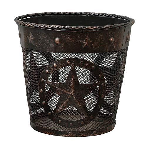 BLACK FOREST DECOR Stars & Studs Metal Western Waste Basket -