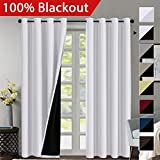 100% Blackout White Curtains for Bedroom 84 Inches Long, Thermal Insulated Blackout Curtains