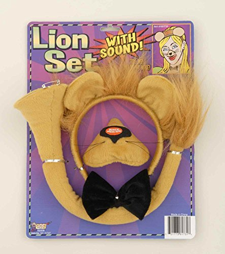 Lion Ears And Tail (Forum Novelties Animal Costume Set Lion Nose Tail with Sound Effects)