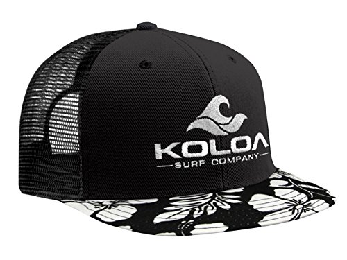 Short Bill Trucker Cap - Koloa Surf(tm) Mesh Back Trucker Hat Hawaiian Bill Hat-White Logo
