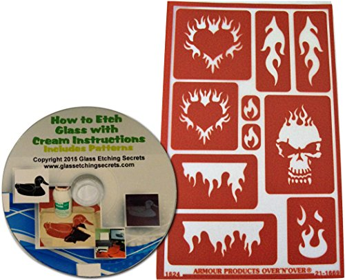 Reusable Flame Stencil Designs for Glass Etching or Painting: Heart Flames, Skull Flames, etc + Free How to Etch CD