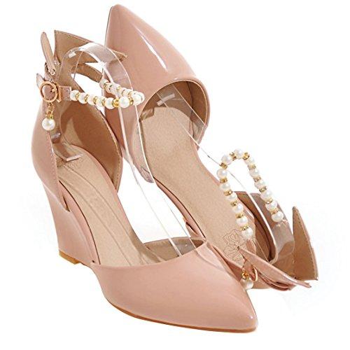 AIYOUMEI Lack Pumps mit Knöchelriemchen High Heels Damen Keilpumps Schuhe mit Perlen und Schnalle Aprikose