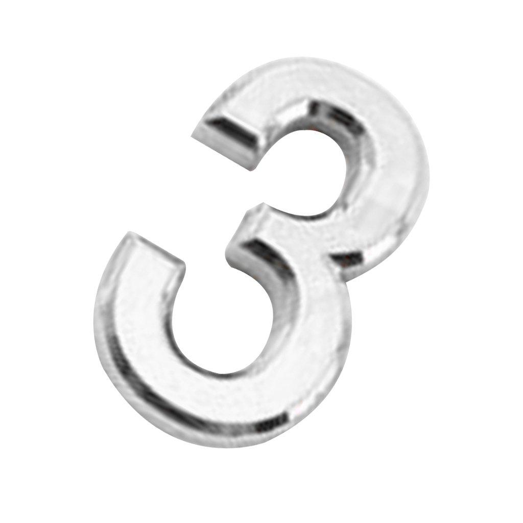 Homyl Modern Numero di Porta 3d in Plastica Self-adesivo per Casa Hotel Appiccicoso Cifra Numerica 0-9 Argento Numero 0