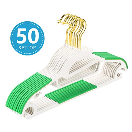 Abs Purple Dress (50 pc U-Slide Clothes Hanger - Gold Hooks- White with Green Non-Slip Pads - Space Saving Thin - For Shirts, Pants, Blouses, Scarves - Heavy Duty - by Mogi's (Green))