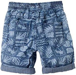 bossini Delight Boys Leaf Print Denim Shorts US Size 4t 14,Blue