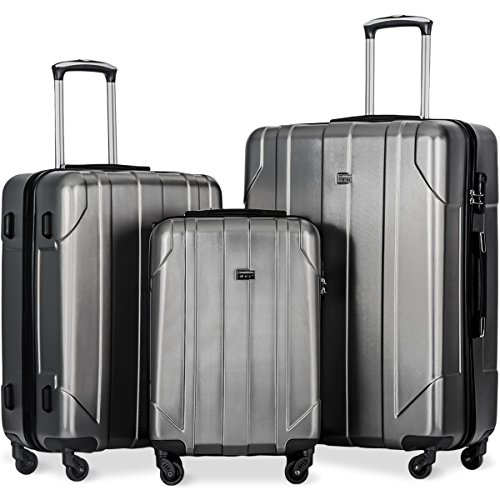 Merax 3 Piece P.E.T Luggage Set Eco-friendly Light Weight Spinner Suitcase(Gray) - Polycarbonate 3 Piece