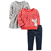 Simple Joys by Carter's Baby Girls' 3-Piece Playwear Set, Red/Grey Mouse, 18 Months