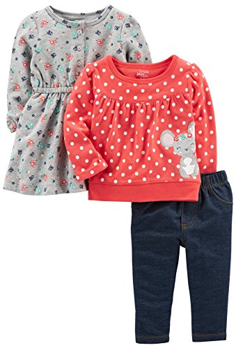 Simple Joys by Carter's Baby Girls' 3-Piece Playwear Set, Red/Grey Mouse, 6-9 Months