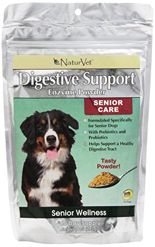 NaturVet Senior Digestive Enzymes Powder for Dogs and Cats, 10-Ounce