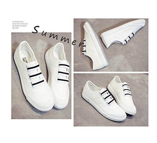 Elastische Segeltuchschuhe breathable beschuht Art und Weiseschuhe flache Schuhe beiläufige Sportschuhdamenschuhe ( Farbe : Schwarz , größe : 39 ) Weiß