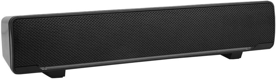 Barra de sonido Altavoces con cable USB Estéreo 3D Bajo Sonido envolvente Perilla de volumen Luz de respiración LED azul con conector de audio de 3.5 mm Reproductor de música para PC TV (Negro)